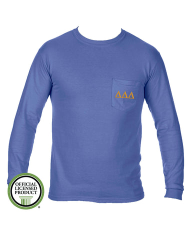 Delta Delta Delta Long Sleeve Comfort Color Pocket Tee