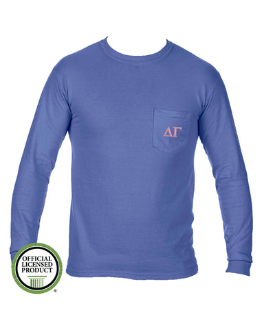 Delta Gamma Long Sleeve Comfort Color Pocket Tee