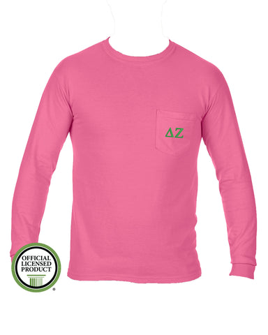 Delta Zeta Long Sleeve Comfort Color Pocket Tee