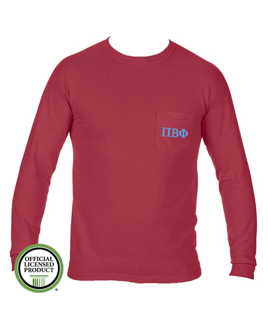 Pi Beta Phi Long Sleeve Comfort Color Pocket Tee