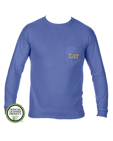 Sigma Delta Tau Long Sleeve Comfort Color Pocket Tee