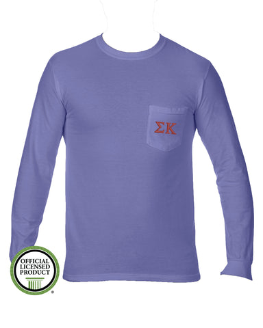 Sigma Kappa Long Sleeve Comfort Color Pocket Tee
