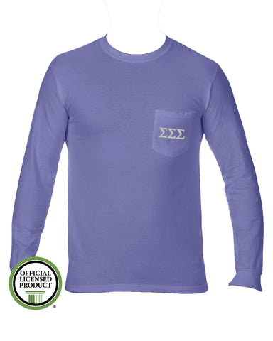 Sigma Sigma Sigma Long Sleeve Comfort Color Pocket Tee