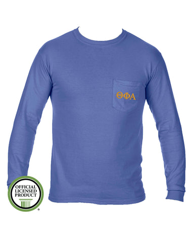 Theta Phi Alpha Long Sleeve Comfort Color Pocket Tee