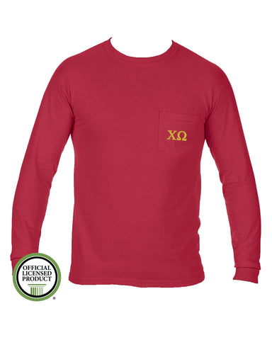 Chi Omega Long Sleeve Comfort Color Pocket Tee