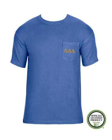Delta Delta Delta Short Sleeve Comfort Color Pocket Tee