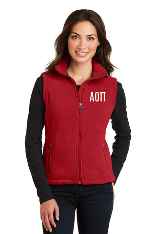 Alpha Omicron Pi Ladies Fleece Vest