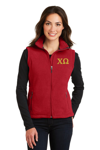 Chi Omega Ladies Fleece Vest