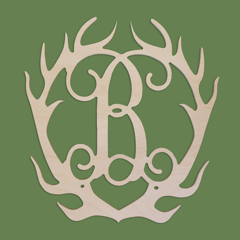 18 in. Antlers Wood Monogram