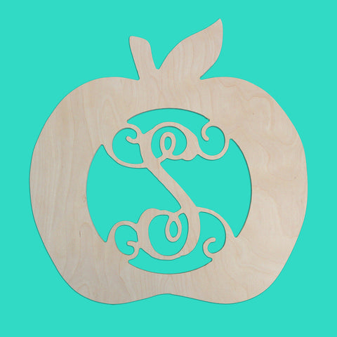 18 in. Apple Design Wood Monogram