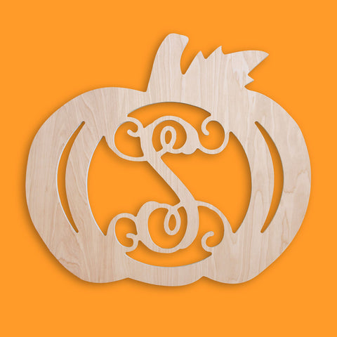 18 in. Pumpkin Wood Monogram