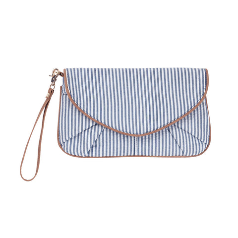 Navy Seersucker Clutch