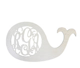 14 in. Whale Wooden Monogram