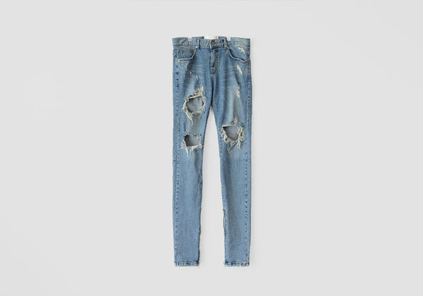 ARNODEFRANCE DESTROYED SUPER SKINNY JEANS - ANKLE ZIP