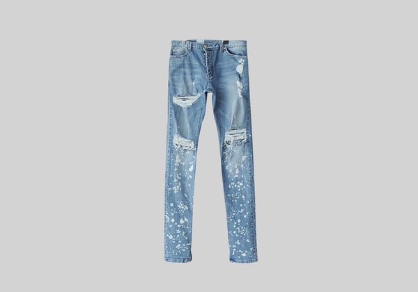 ARNODEFRANCE ANKLE ZIP DESTROYED SKINNY JEANS - SMUDGE WASHED MID BLUE