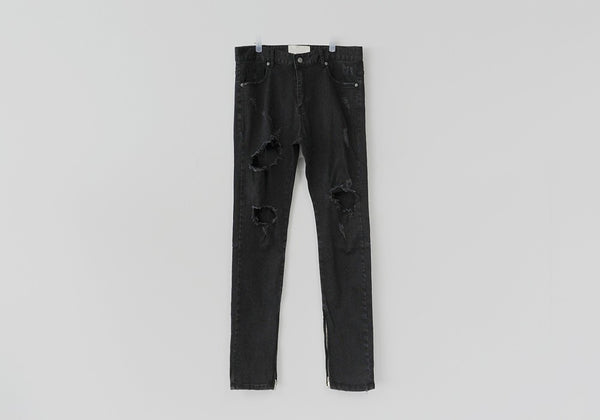 ARNODEFRANCE ANKLE ZIPPED DESTROYED BLACK SUPER SKINNY JEANS