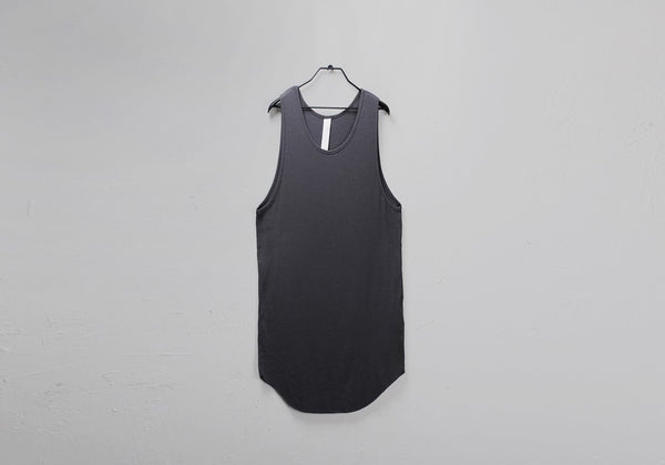 MINI RIBBED RAW EDGE OVERLONG TANK TOP