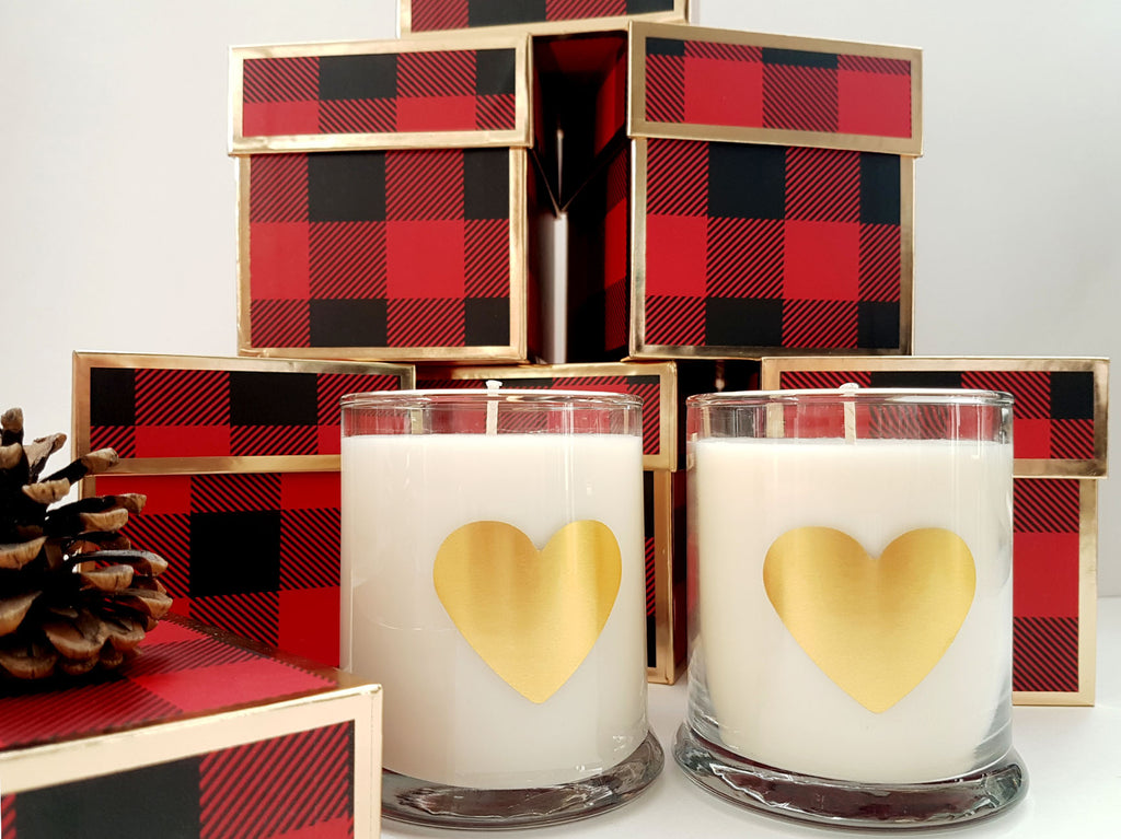 Valentine's Personalized Candle in Red Plaid Gift Box