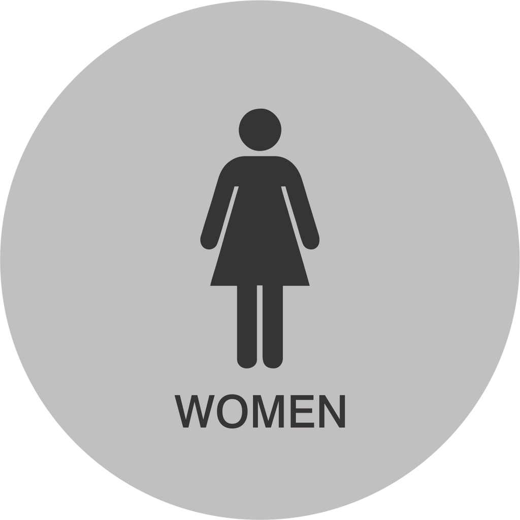 women's circle restroom sign - architectural grade - 5 colors