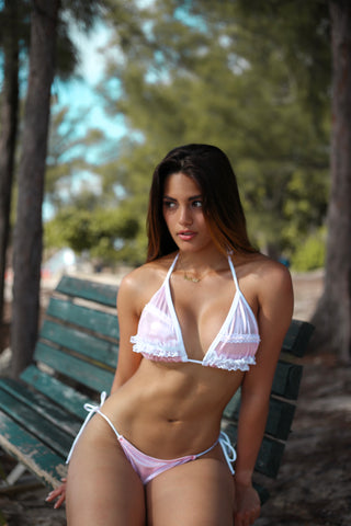 Lace Holographic Light Pink Two Piece Bikini Set Thong
