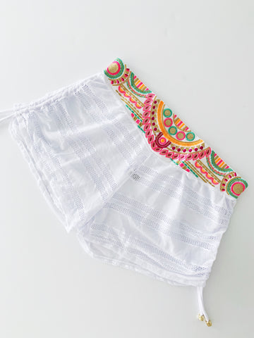 White Colombian Beach Shorts Cover-Up Bottom