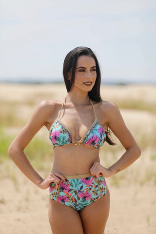 Mint Gold Garden High-Waist Beaded Bikini Set