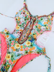 Sunflower Floral Beaded Colombian Trikini One-Piece Swimsuit