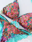 Mint Floral Hawaii Strings Bikini Set