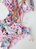 Pink Garden Beaded Trikini One-Piece Swimsuit