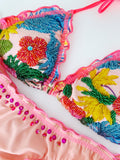 Spring Kiss Floral Beaded Colombian Bikini Set