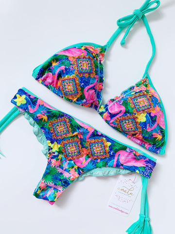Flamingo Paradise Colombian Bikini Set
