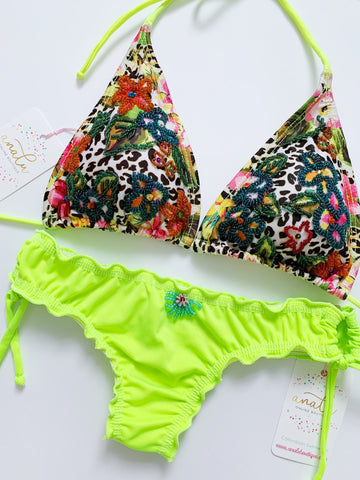 Neon Animal Print Colombian Beaded Bikini Set
