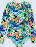 Turquoise Surfer BodySuit Floral One-Piece Swimsuit