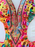 Yellow Tropical Fruits Beaded Colombian Trikini One-Piece Swimsuit