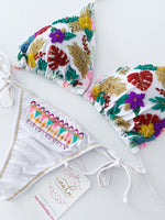 White Floral Beaded Colombian Bikini Set