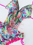 Floral Beaded Trikini One-Piece Swimsuit