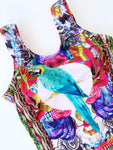 Tropical Bird Hand-Beaded Colombian One-Piece Swimsuit