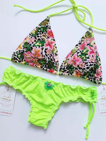 Neon Animal Print Pink Colombian Beaded Bikini Set