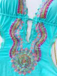 Turquoise Beaded Colombian Trikini One-Piece Swimsuit