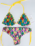 Yellow Purple Pineapple Colombian Beaded Bikini Set
