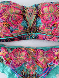 Mint Floral Hawaii Strapless Beaded Colombian Bikini Set