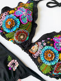 Floral Black Garden Beaded Colombian Bikini Set