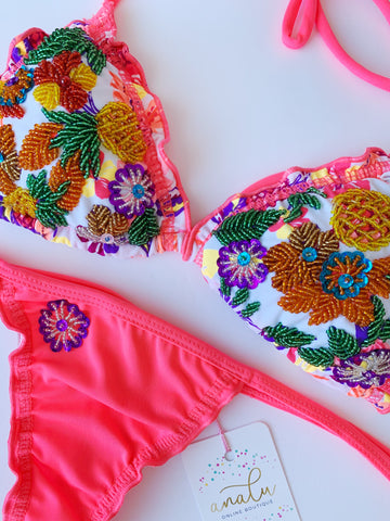 Pineapple Party Beaded Colombian Bikini Set