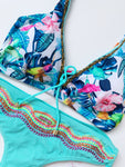Mint Colibrí Bird Colombian Beaded Bikini Set