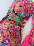 Fucsia Floral Hawaii Strapless Beaded Colombian Bikini Set