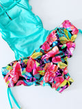 Colorful Floral Trikini Beaded Colombian One-Piece Set