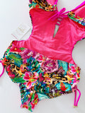 Butterfly Garden Beaded Trikini One-Piece Swimsuit