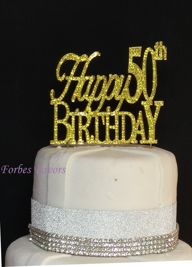 Large Sparkling Gold Rhinestone 50th Happy Birthday Cake Topper By Forbes Favors