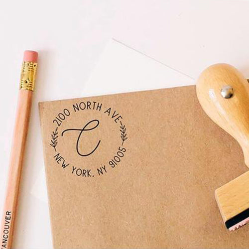 Custom Calligraphy Round Return Address Stamp