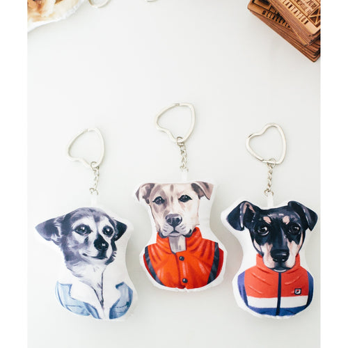 Custom Illustrated Pet Portrait Keychain